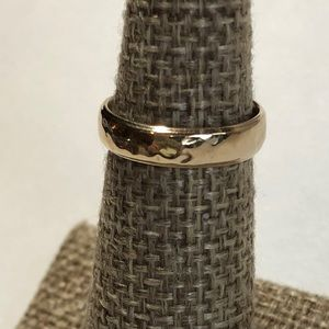 14k Yellow Gold SOLID Hammered Wedding Band